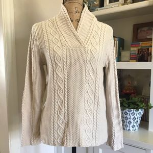 Jeanne pierre cable knit cream sweater v-neck